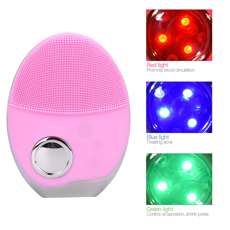 Ultrasonic 3 Colors LED Photon Lights Facial Cleansing Brush Waterproof Silicone Wash Pad Face Exfoliating Cleaning Brushes 5253Ultrasonic 3 Colors LED Photon Lights Facial Cleansing Brush Waterproof Silicone Wash Pad Face Exfoliating Cleaning Brushes 5253