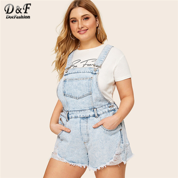 Dotfashion Plus Size Blue Frayed Edge Washed Denim Overalls Women 2019 Summer Casual Romper Ladies Sleeveless One Piece Playsuit