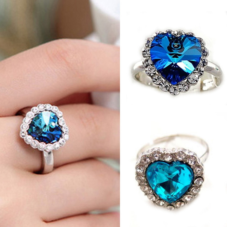 2016 New Arrival Women Fine Jewelry Sapphire Korea Style Titanic Heart Of Ocean Blue Gem Adjustable Ring Crystal Rings Gift bangle
