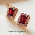 Top Quality Rose Gold Plated Red Austrian Crystal Rectangle Princess Cut Woman Stud Earring Wholesale