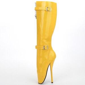 Image 3 - Jialuowei 2018 nowy przyjeżdża 18CM ekstremalne szpilki Sexy fetysz Goth balet buty PU Patent Zip pasek z klamrą kolana wysokie długie buty