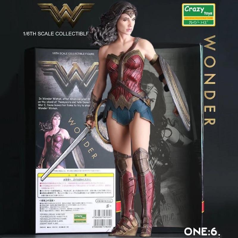 12 Crazy Toys Wonder Woman shield sword Movie Batman v Superman deadpool joker aliens naruto PVC action Figure model Doll