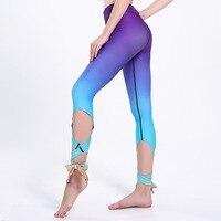 2017 New LOVE SPARK Purple Blue Gradient Slim Women Dance Pants S To 3xl Plus Size