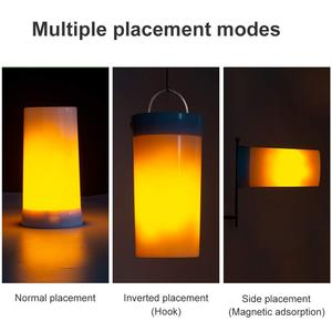 Image 4 - LED Flame Effect Fire Light Bulb Waterproof Outdoor Indoor Flickering Emulation 3 Modes Magnetic Led Flame Lamp USB Rechargeable