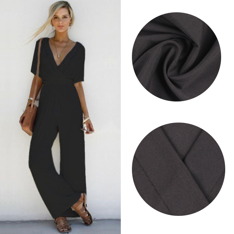 2019 New Casual Summer Clothing Fashion Women V Neck Solid Loose Chiffon Slim Wide Leg Casual Lace-up Rompers Bohemian   Jumpsuits