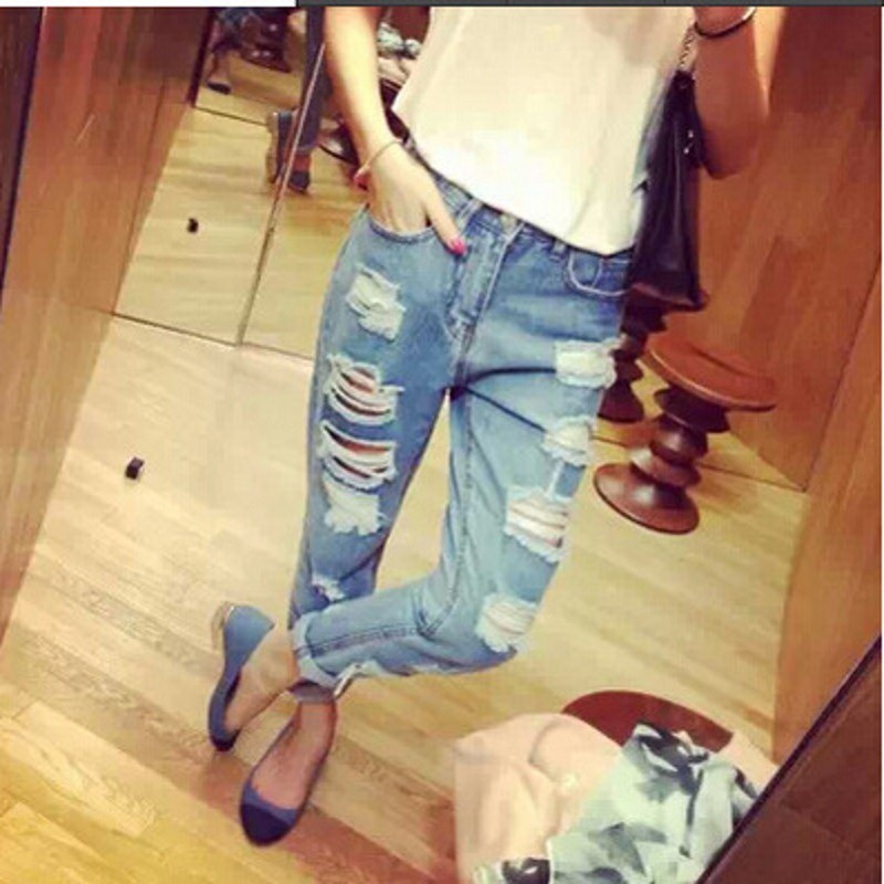 Fashion pencil pants Mid Waist holes woman jeans Boyfriend Jeans Ripped Holes Washed Denim Pants 024