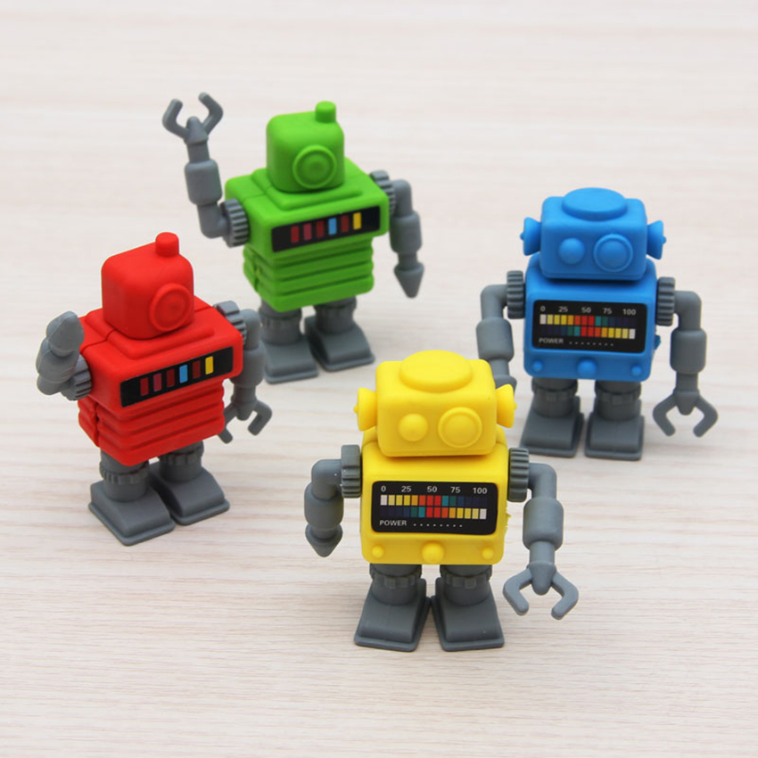 1PC Cartoon Robot Shape Pencil Erasers Students Colorful Eraser Words Drawing Correction Stationery Kids Toys School Prizes