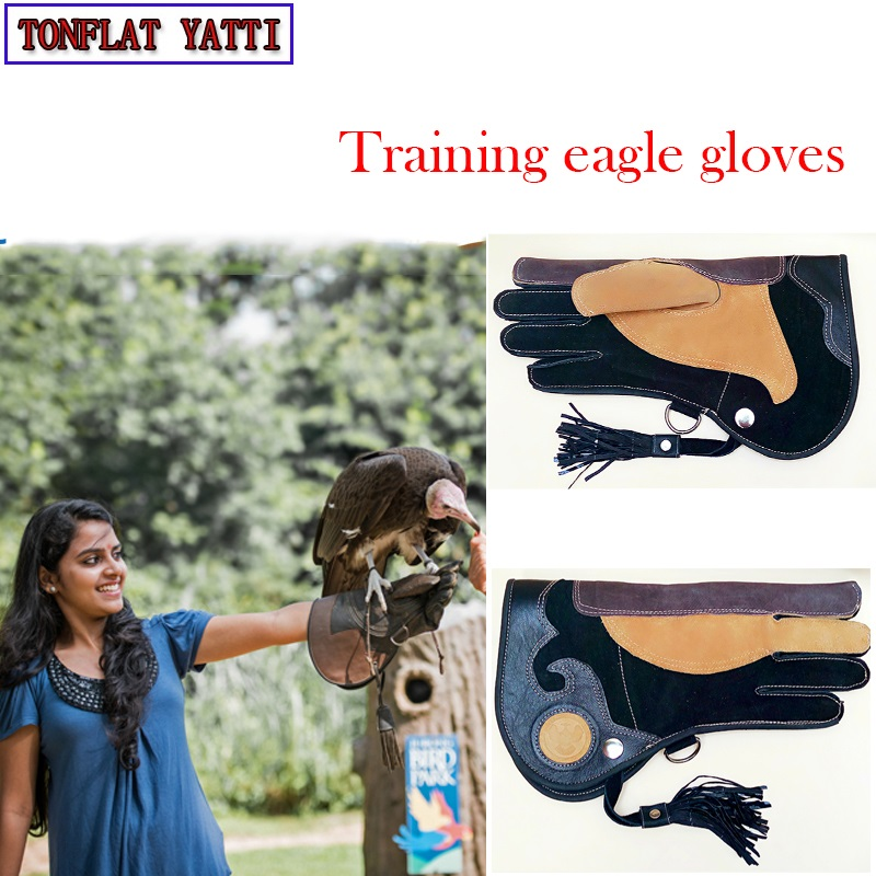 Professional Training eagle gloves Cowhide thick anti catching anti bite anti friction Goshawk Falcon peregrine falcon