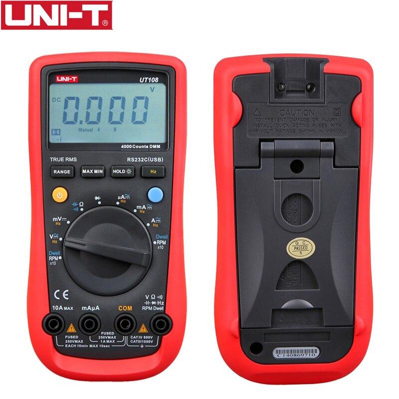 1PC UNI-T UT108 Handheld Automotive Multipurpose Meters Auto Range Multimeter USB PC Connect AC DC V/A Ohm  цены