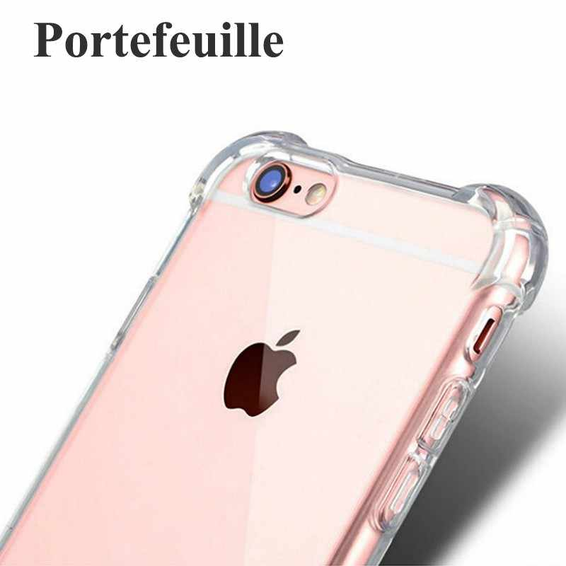 Portefeuille Case Cover For iPhone 6 6s iPhone 7 Plus 5 5S SE 8 Transparent Protective Shell Shockproof Soft TPU Silicone Coque