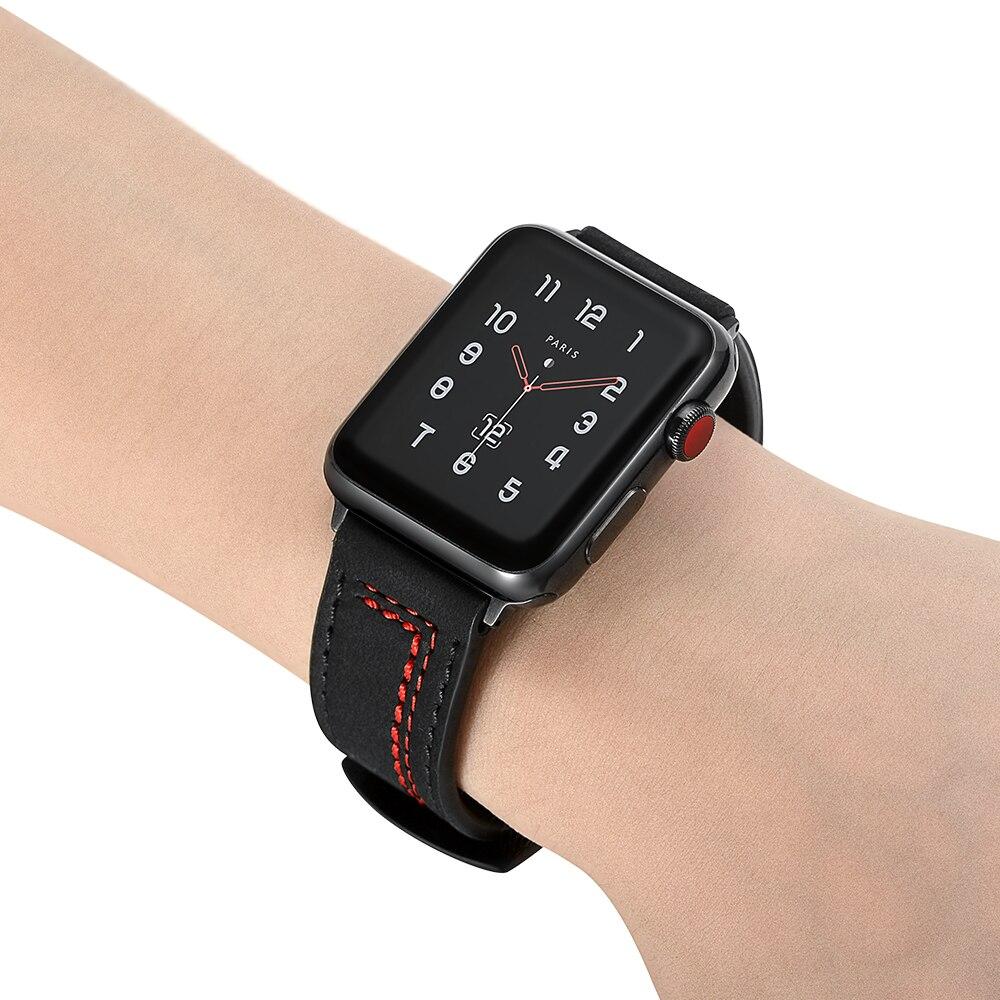 Image 4 - Ремешок для Apple Watch 38 мм 42 мм ремешок для часов из натуральной кожи для iWatch 40 мм 44 мм серия 4 3 2 1 ремешок шовный браслет из воловьей кожи-in Ремешки для часов from Ручные часы on AliExpress - 11.11_Double 11_Singles' Day