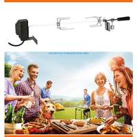 Electric Automatic BBQ Grill Outdoor Camping Rotisserie Motor Roast Branch Stainless Spit Roaster Rod Charcoal Pig Chicken Beef