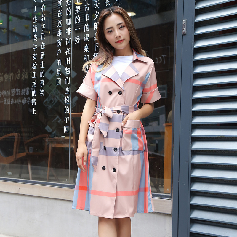Summer new plus size women fashion lattice double-breasted   trench   coat waist thin professional OL temperament plaid girls   trench