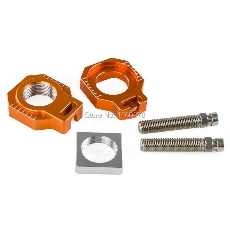 CNC Rear Axle Chain Adjuster Blocks Fits For KTM 125 150 250 350 450 SX SX-F XC XC-F 2013 2014 2015 2016 2017 billet cnc rear brake disc guard w caliper bracket for ktm 125 450 sx sx f smr xc xc f 2013 2016