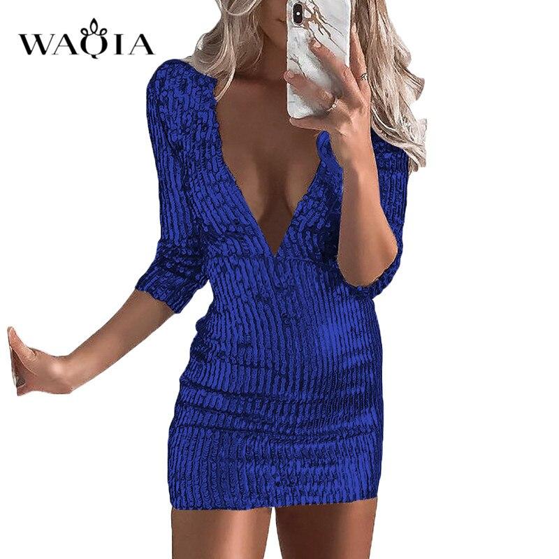 WAQIA Plus Size Silver Gold Sequin Dresses Women 2018 Deep