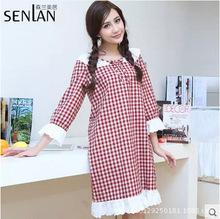 Brand Sleep Lounge Women Sleepwear 100% Cotton Nightgowns Sexy Long Robe Home Dress lace Nightgown Red Plaid skinny Sleepshirts