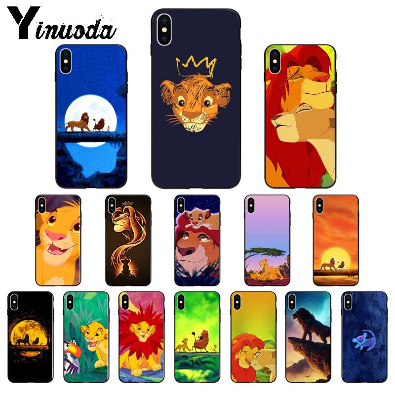 Yinuoda <font><b>Lion</b></font> <font><b>King</b></font> Simba TPU Soft Silicone Black Phone <font><b>Case</b></font> for <font><b>iPhone</b></font> 5 5Sx <font><b>6</b></font> 7 7plus 8 8Plus X XS MAX XR image
