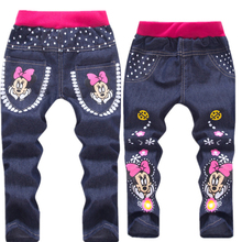 hot deal buy baby girl clothing cartoon pattern mickey clothes kids jeans children pants summer casual denim pants baby girls jeans