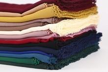 Fashionable Women Lace edges Scarves Islamic Head Scarf Chiffon Muslim Hijabs Turban Plain Long Shawl Headscarf Stole 180*75cm