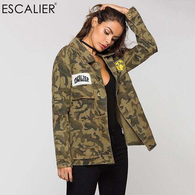 ESCALIER Vogue Printemps Parkas Vestes Femmes Armée Camouflage Vert  Militaire Brodé Vestes Femmes Manteaux Automne Livraison 6bd724ed067f