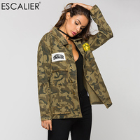 ESCALIER Vogue Spring Parkas Jackets Women Army Green Camouflage Military Embroidered Jackets Women Coats Autumn Free Shipping