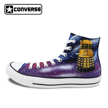 Design Men Women Converse Chuck Taylor Shoes Hand Painted Galaxy Police Box Athletic High Top Canvas