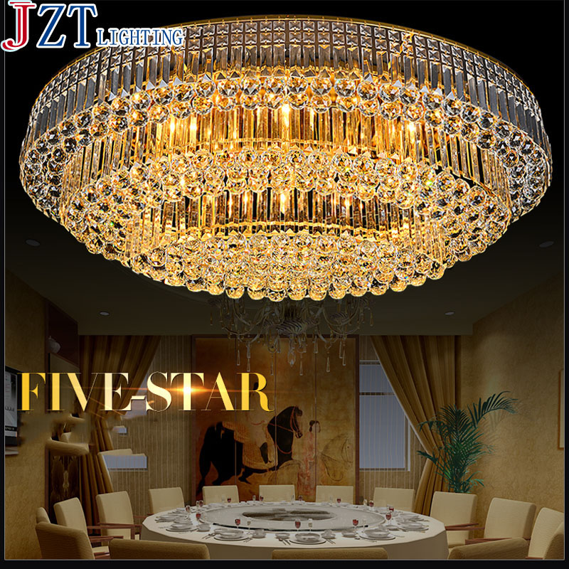 T Larger Colorful Crystal Ceiling light Ellipse Luxury Lamps with LED Bulbs E14 For Foyer Bedroom Hotel Engineering Lights ...