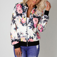 Women Basic Coats Autumn And Winter Floral Printed Bomber Jacket 2017 Vintage Long Sleeve Loose Female Coat Casual Girls Outwear