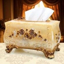 Гостиная резные смолы Европейский коробка ткани, Роскошный Ретро украшения дома коробка для салфеток, модные Творческие коробки