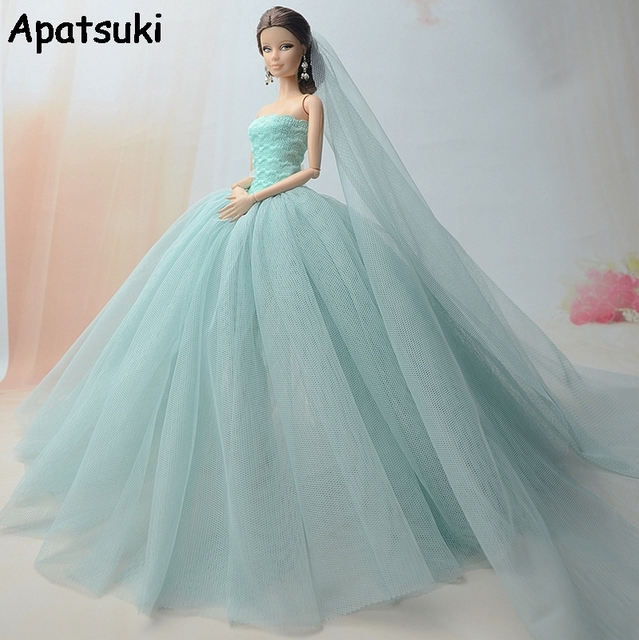 High Quality Doll Dress For Barbie Doll Long Tail Evening Gown ...