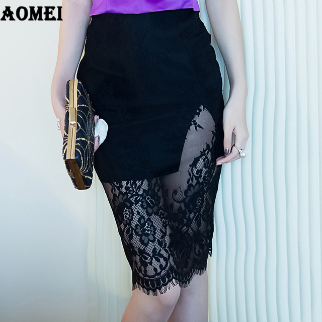 2fa588326 Office Ladies Pencil Skirt Sheath Patchwork Lace Split Tight Slim Wear to  Work Female Summer Elegant Jupes Saia falda Officewear