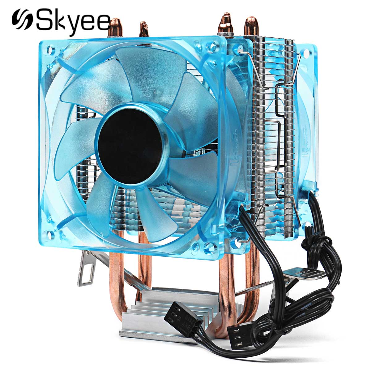 Blue 3pin 90mm Dual Copper Pipe LED CPU Cooling Fan Aluminum Heatsink Cooler Cooling Fan for AMD AM2 + AM3 +Intel 775 1155 1156 pcooler s90f 10cm 4 pin pwm cooling fan 4 copper heat pipes led cpu cooler cooling fan heat sink for intel lga775 for amd am2