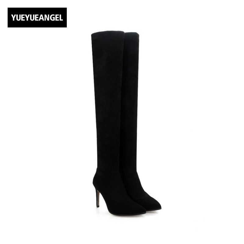 Super High Thin Heel Womens Thigh High Boots Classic Black Real Sheepskin Suede Ladies Shoes Sexy Slim Fit Pointed Toe Footwear