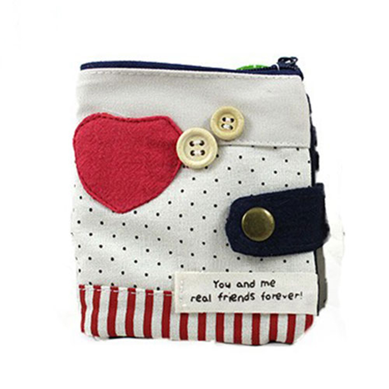 XYDYY Casual Peach-heart Prints Women Daily Wallets High Quality Cotton Coin Wallet Female Hasp Fashion Short Purse Card Holder