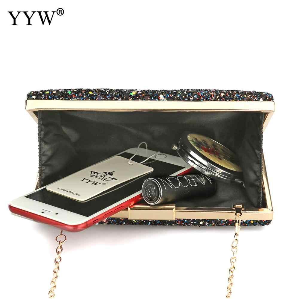 YYW, Серебряный Блестящий клатч, вечерняя сумочка, клатч, модная Женская Роскошная сумочка, сумки, черные сумочки, свадебная сумка через плечо