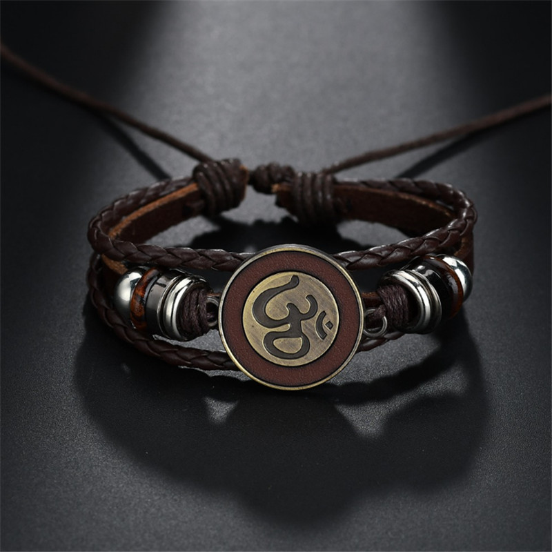 Black Brown Rope Chain Leather Bracelets With Antique Gold Om/Ohm/aum Charm Adjustable Bracelet Bangle for Men Women Jewellery