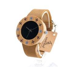 BOBO de AVES I16 señoras Reloj de pulsera de Madera De Bambú Clásico Dial Negro UV Impresión de La Flor Mujeres Quarzt Reloj orologio donna