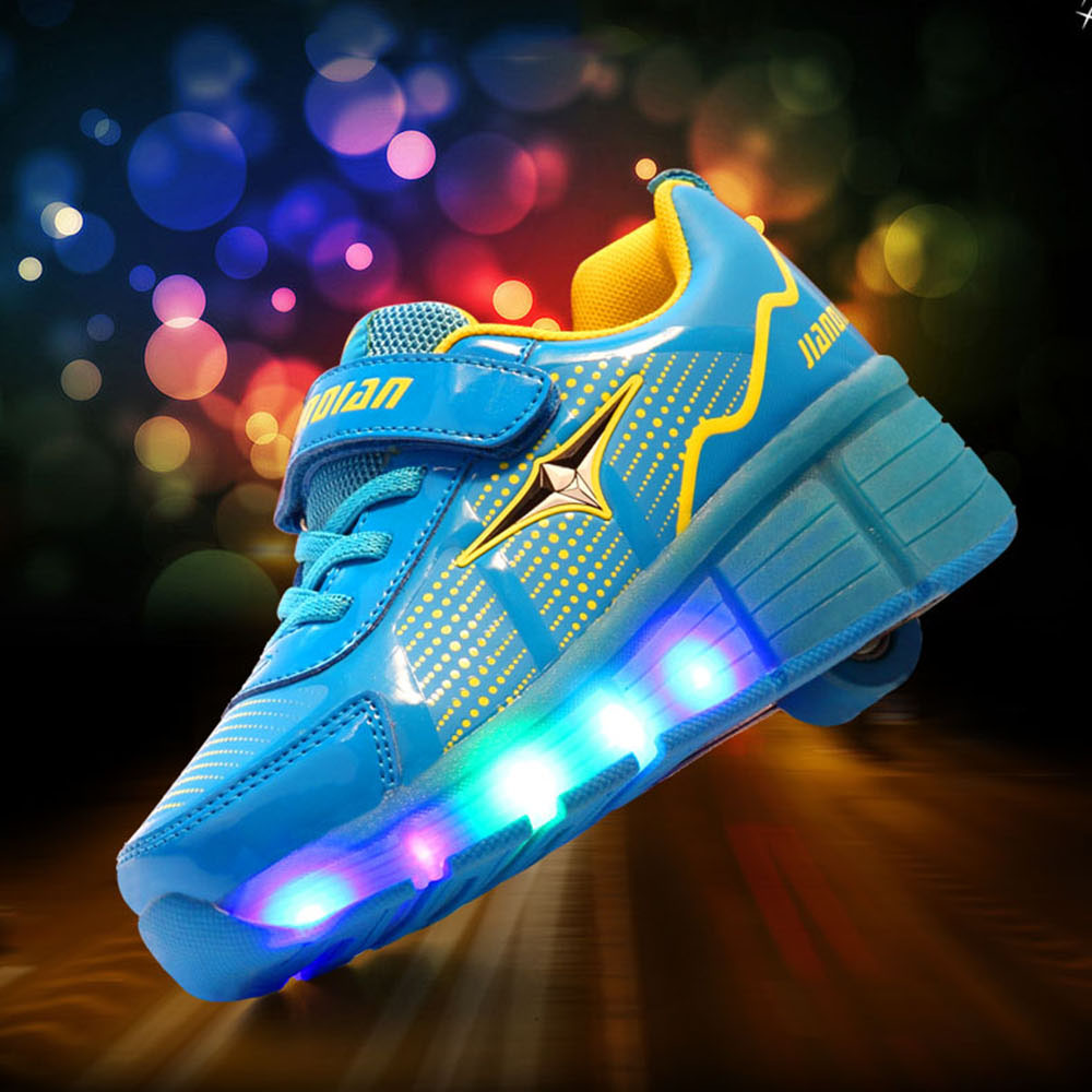 Roller shoes vans - Glowing Sneakers Kids Roller Skate Shoes With Wheels Led Light Up Shoes For Boys Girls Glowing