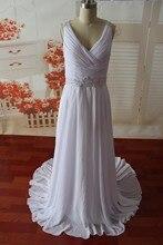 SL-0210965 Wedding Dress A-line V-neck Beaded Chiffon Floor Length Beach 2016
