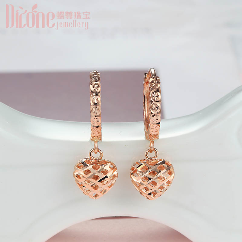 18K Gold Earrings Heart-shaped Earrings Rose Gold Plain Gold Earrings With Stars To Give Girlfriend Love