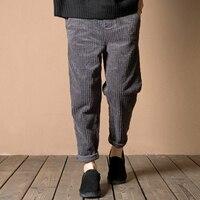 2017 אביב סתיו Vintage אלסטיים מותן Palazzo Loose נשים מכנסיים קורדרוי בתוספת גודל מכנסיים מזדמנים מכנסי הרמון חאקי אפור