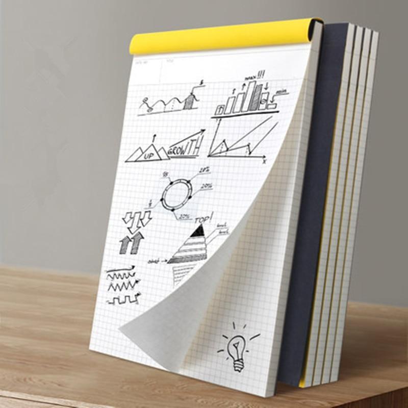 2017 New Upturning kraft notebook Black Cover Graffiti Notebook Grid Line Legal Pad for Office School Suprimentos Kraft Notepad