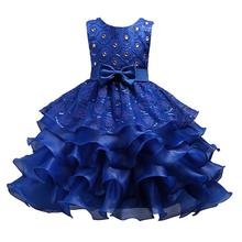 Girls Ruffles Embroidered Sequined Pageant Flower Wedding Dress  O-Neck Christmas Lace Pageant Dresses цена и фото