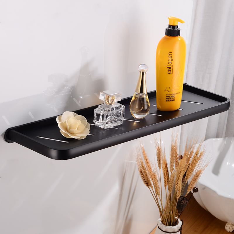 Bathroom Shelf Organizer Black Aluminum Bathroom Shelves Shower Storage Rack Wall Mounted Decorative Corner Shampoo Shelf 50cm