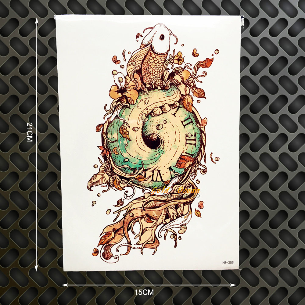 1PC Old Compass Clock Designs Fake Flash Tattoo Men Body Art Arm Sleeve Tatoo Stickers GHB-359 Sand SWIRL Carp Temporary Tattoos la palmyre zoo