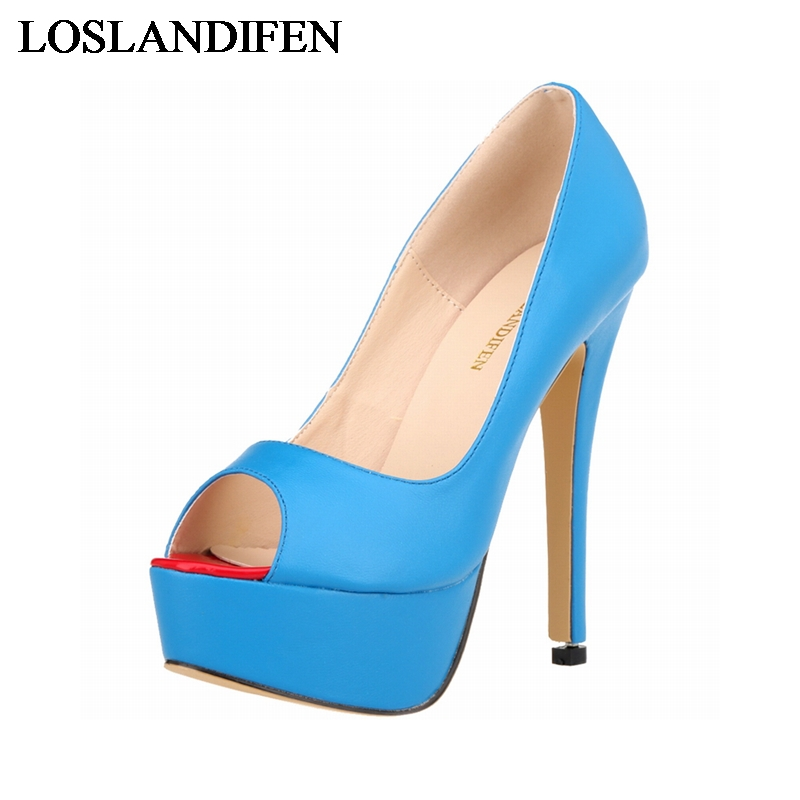 Women High Heels 2016 Black Blue Red Color Peep Toe Women Platform Pumps Sexy Wedding Shoes Female Shoes NLK A0005 in Women 39 s Pumps from Shoes