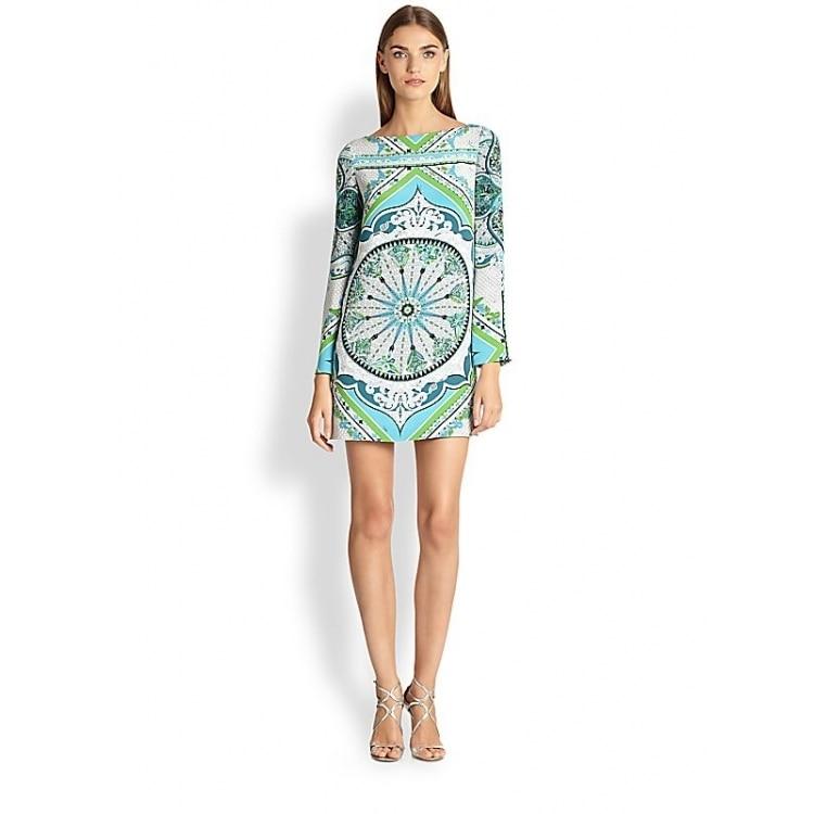 1a511c98b4466 New Seconds Kill Silk Cotton Summer Dress Vestido Fresh Print Elastic  Fashion Figuring Style Slim Knitted Long-sleeve Dress