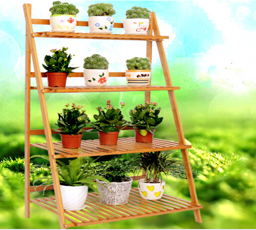 flower stand bamboo shelf quality multilayer folding balcony flower stand