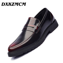 DXKZMCM Handmade Men Dress PU Leather Formal Business Oxfords Shoes Men's for Party