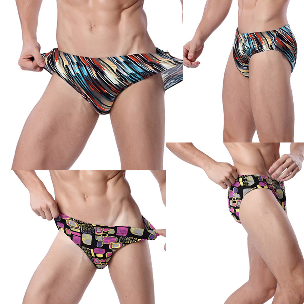 Womail Men's Shorts Swim Briefs Quick Dry Beach Print Running Swimming Underwear Fashion Daily Denim Color Dropship J24